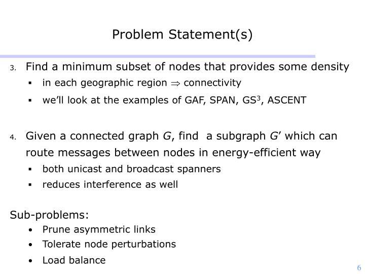 Problem Statement(s)