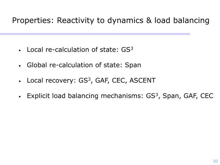 Properties: Reactivity to dynamics & load balancing