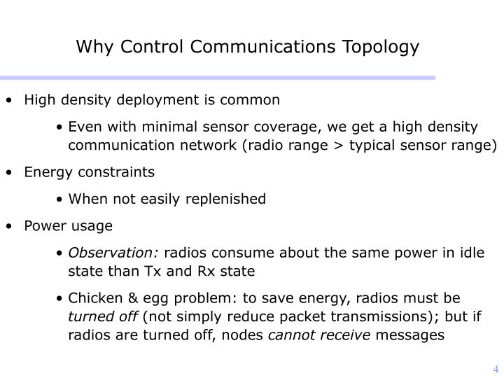 Why Control Communications Topology