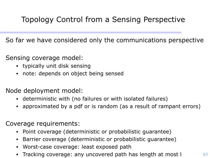 Topology Control from a Sensing Perspective