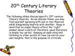 20 th century literary theories
