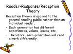 reader response reception theory