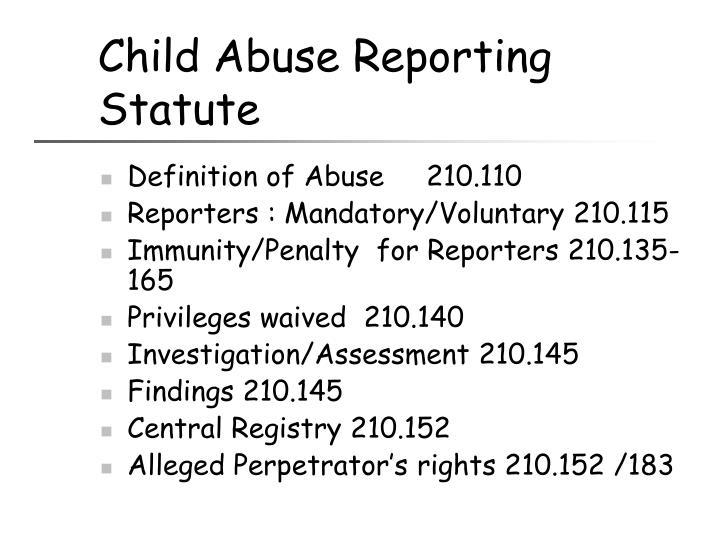 Child Abuse Reporting Statute