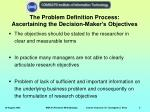 the problem definition process ascertaining the decision maker s objectives
