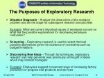 the purposes of exploratory research