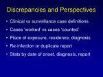 discrepancies and perspectives