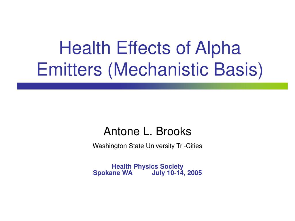 health effects of alpha emitters mechanistic basis l.
