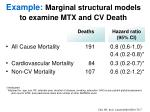 example marginal structural models to examine mtx and cv death
