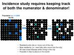 incidence study requires keeping track of both the numerator denominator