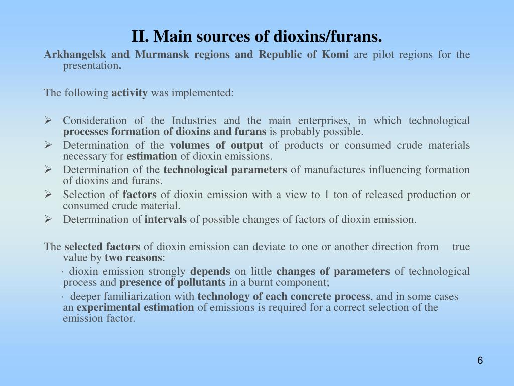 II. Main sources of dioxins/furans.