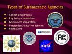types of bureaucratic agencies