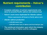 nutrient requirements halver s contribution
