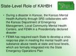 state level role of kahbh