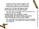 syntactic features of specialized discourse31