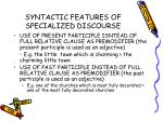 syntactic features of specialized discourse32