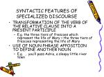 syntactic features of specialized discourse33