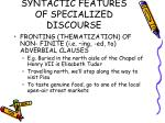 syntactic features of specialized discourse34
