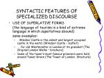 syntactic features of specialized discourse35