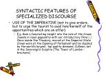 syntactic features of specialized discourse37