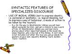 syntactic features of specialized discourse38