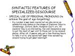 syntactic features of specialized discourse39