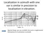 localization in azimuth with one ear is similar in precision to localization in elevation