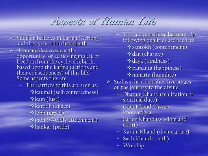 Sikhism believes in karma (Action) and the cycle of birth & death.