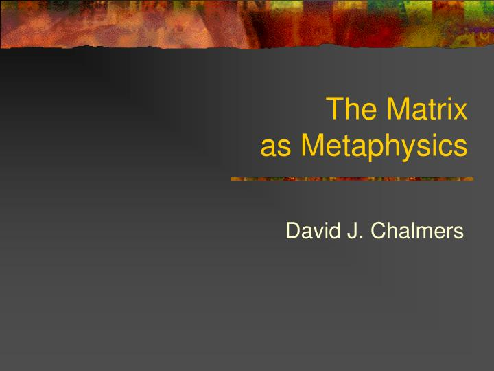 the matrix as metaphysics n.