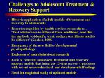 challenges to adolescent treatment recovery support