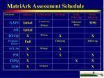 matriark assessment schedule