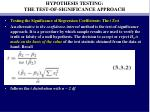 hypothesis testing the test of significance approach