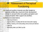 assessment of perceptual functioning