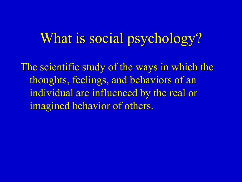 what is social psychology l.