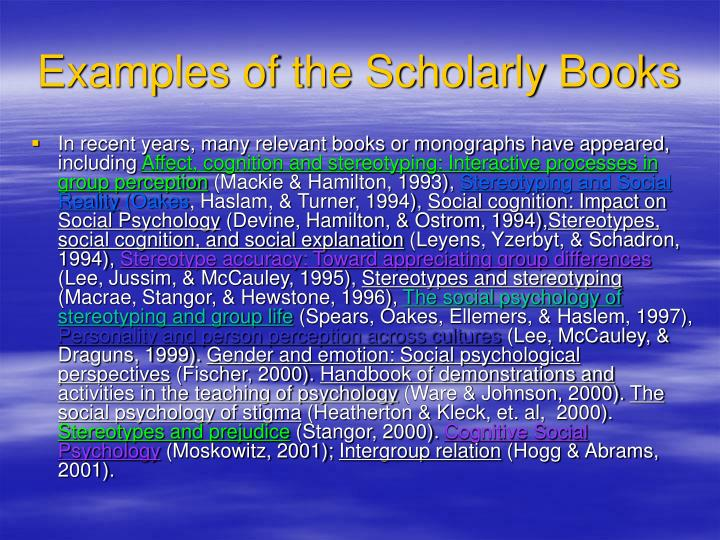 Examples of the Scholarly Books