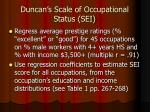 duncan s scale of occupational status sei