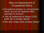 more on measurement of occupational status