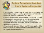 cultural competence is defined from a systems perspective