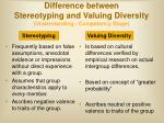 difference between stereotyping and valuing diversity understanding competency stage