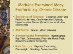 modules examined many factors e g chronic disease