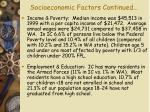 socioeconomic factors continued