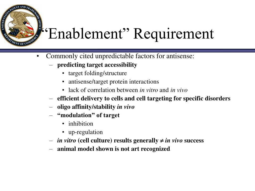 """Enablement"" Requirement"