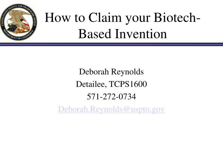 How to claim your biotech based invention
