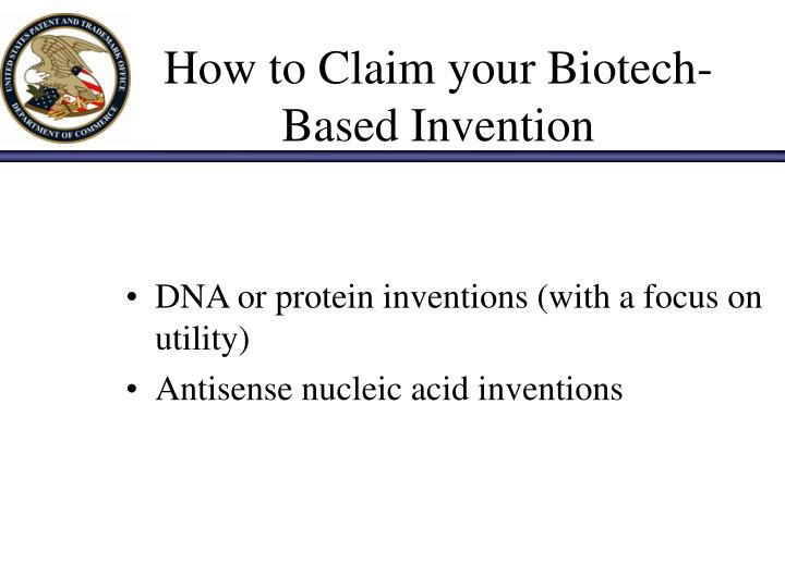 How to claim your biotech based invention2