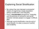 explaining social stratification