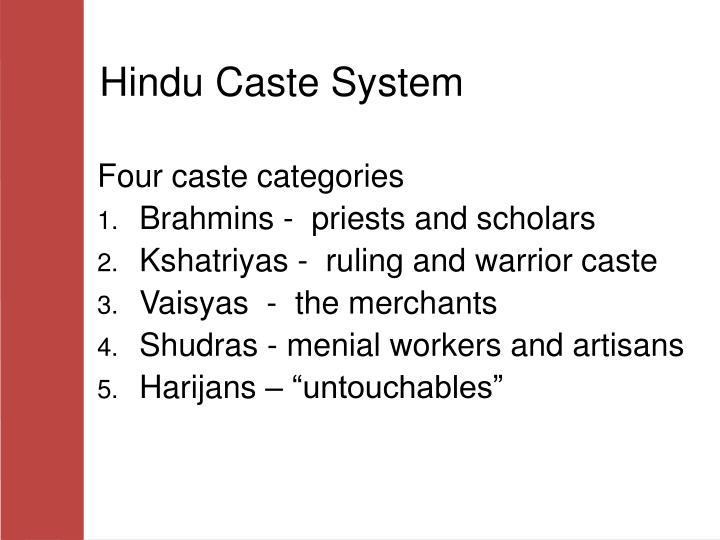 the hindu caste system essay example Essay hinduism introduction hinduism is a religion that originated in india and is still practiced by most of the natives as well as the people who have migrated from india to other parts of the world.