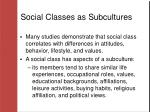 social classes as subcultures