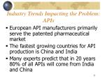 industry trends impacting the problem apis