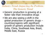 industry trends impacting the problem the generic trend