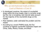 why an international trade problem lack of statistics cont d