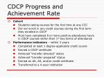 cdcp progress and achievement rate